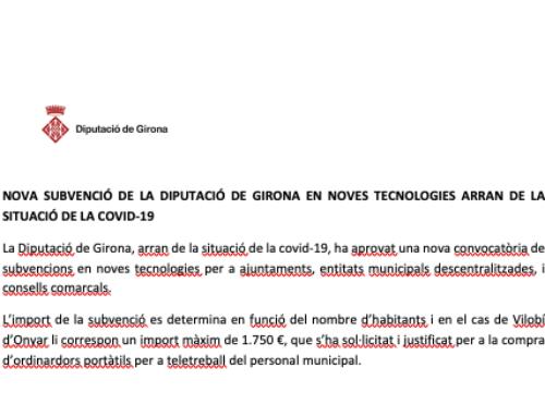 Subvenció en noves tecnologies concedida a l'Ajuntament de Vilobí d'Onyar